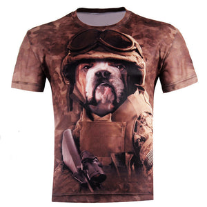New Fashion Men's Short Sleeve Polyester 3D O-Neck t shirt Lion/Frog/Lightning / Lizard /3D Water Printed T shirt , Mens T-Shirt