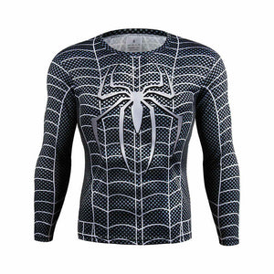 Marvel comics superheroes batman avengers sports T-shirt man compression armour base layer long-sleeved top fitness S - 4 xl