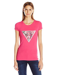 Guess Women's Short Sleeve R3 Floral Collage Tri Logo Tee