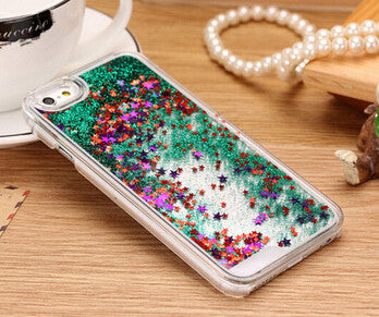 Hot Sale Glitter bling Quicksand star Liquid hard back cover clear phone case for iphone SE 5 5S YC213, Color - Siver