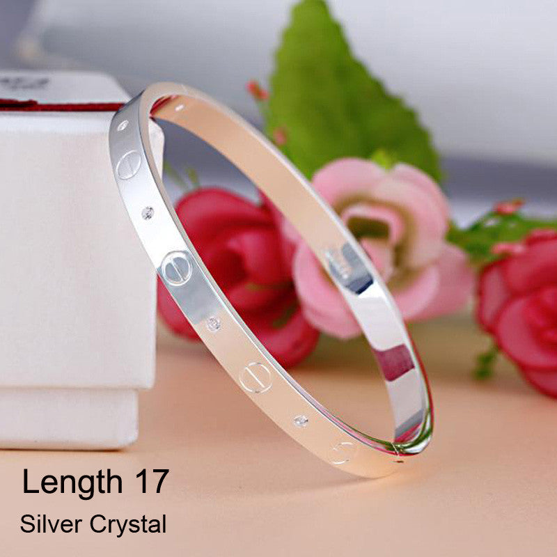 Luxury Stainless Steel Cuff Bracelets&Bangles Top Gold Plated Brand CZ  Crystal Buckle Love Charm Bracelet For Women Jewelry Hot