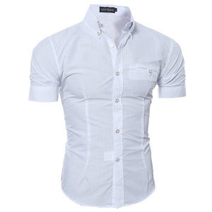 NEW 2016 Summer Fashion Mens Shirt Casual Slim Fit Business Formal Shirt Short Sleeve Mens White Chemise Homme Asian Size M-3XL