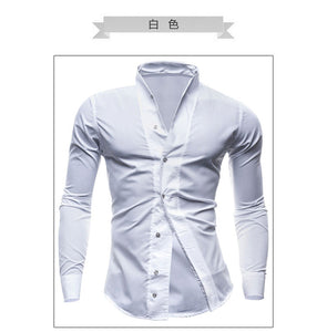 Asia Size Non-US Size!New spring and summer 2016 men's fashion solid color  long-sleeved shirt shirt large size M--XXL