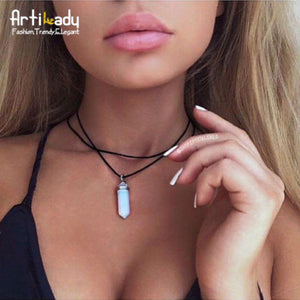 Artilady pu leather opal choker necklace