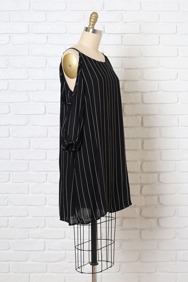 Striped Cold-Shoulder Shift Dress
