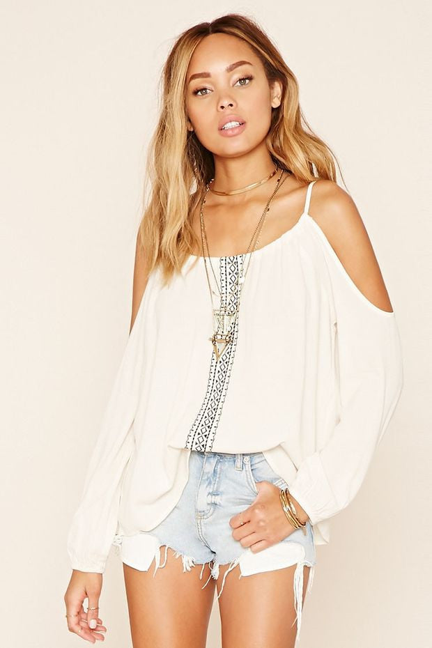 Open-Shoulder Chiffon Top
