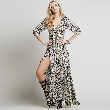 Leopard Print V-Neck Maxi Dress