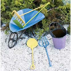Summer Multi-Colored Tools 4 pc set: Fairy Garden or Barnyard Miniature Accessories - Baby Feathers Gift Shop