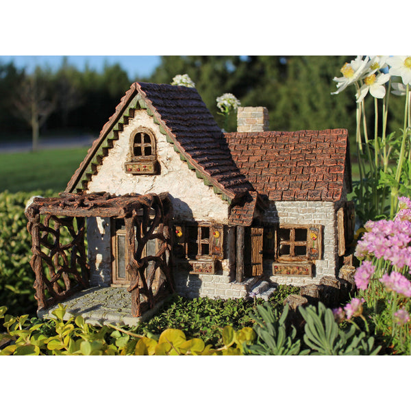 Ladybug House with Detached Pergola & Working Hinged Door: Fairy Garden Miniature House - Baby Feathers Gift Shop