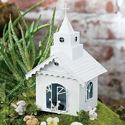 Miniature Metal Chapel: Fairy Garden, Barnyard, Country Village, Dollhouse Miniatures - Baby Feathers Gift Shop