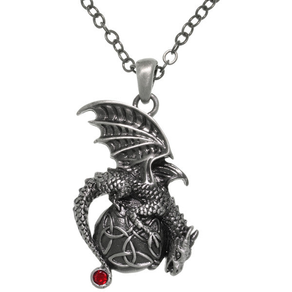 Dragon Celtic Trinity Knot Orb Pewter Pendant 24-inch Chain Necklace - Baby Feathers