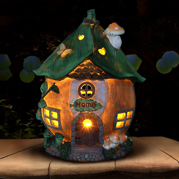 Leaf Roof Fairy Cottage with Solar Powered Lights: Fairy Garden Miniature House - Baby Feathers Gift Shop