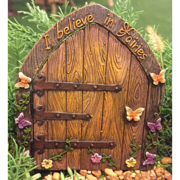 I Believe in Fairies Door: Fairy Garden Landscaping Miniature Door - Baby Feathers Gift Shop