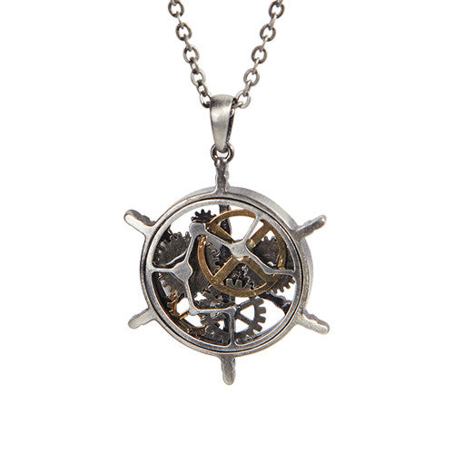 Steampunk Helm Ship Wheel Nicklace: Airship Helm - Baby Feathers