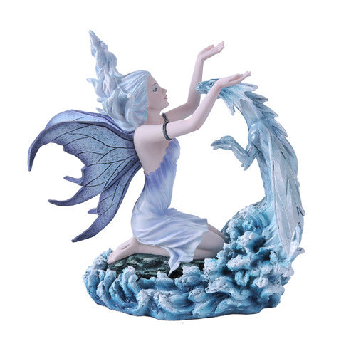 Winter Frost Fairy with Baby Dragon Figurine - Baby Feathers Gift Shop