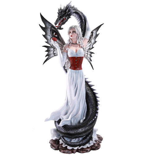 Large Black Dragon Protecting Fairy Figurine - Baby Feathers Gift Shop