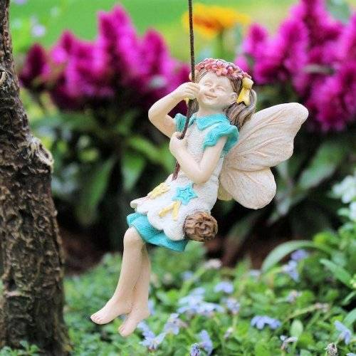 Kelsey Mini Fairy on a Swing Miniature Backyard - Baby Feathers Gift Shop