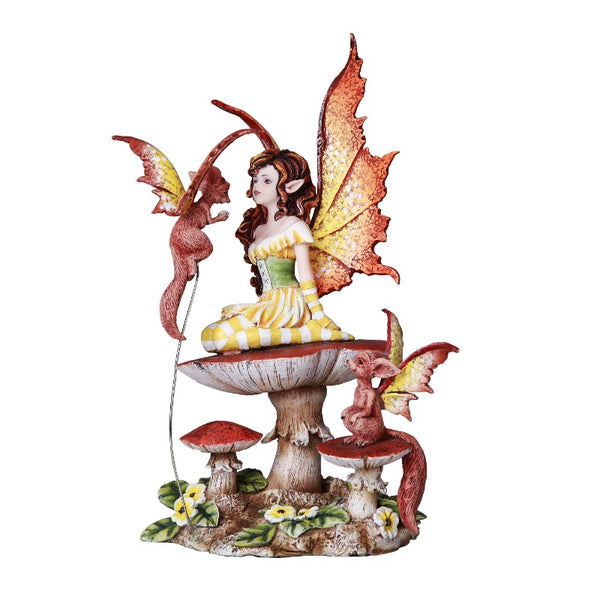 Amy Brown Fluttering Friends: Fairy & Dragon Figurine Statue - Baby Feathers Gift Shop