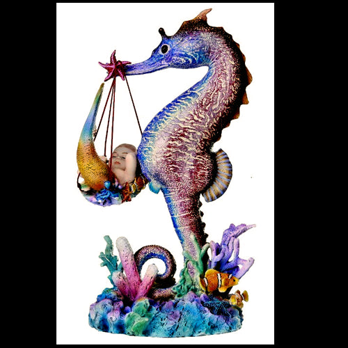 Sheila Wolk Mermaid Collection Mer Birther Seahorse Mer-baby Delivery Figurine - Baby Feathers Gift Shop