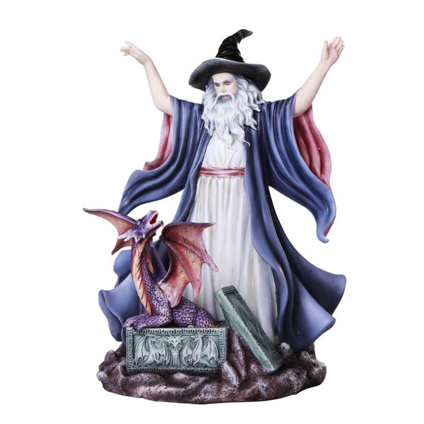 Wizard Summoning Dragon Fantasy Figurine - Baby Feathers Gift Shop