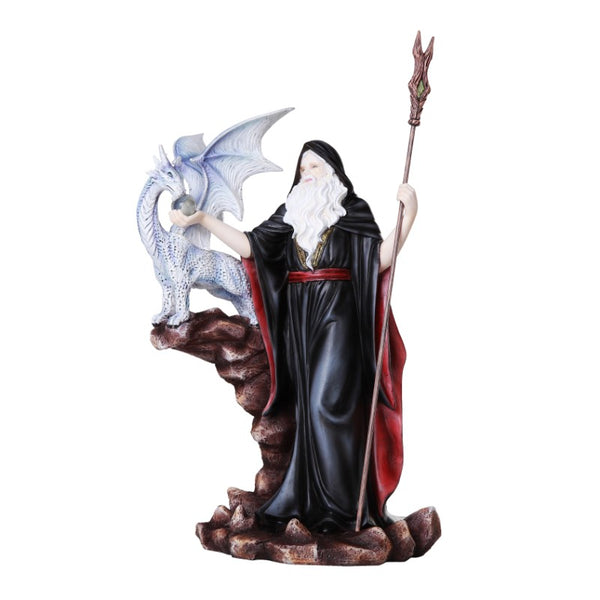 Grand Wizard with Dragon Figurine: Fantasy Mage Dragon - Baby Feathers Gift Shop
