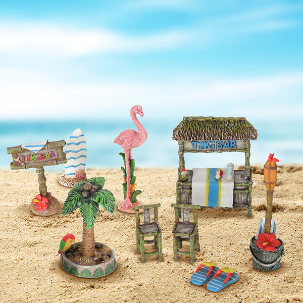 Beach Miniature Garden Set: Fairy Garden Kit: 10 Pcs Set   Baby Feathers  Gift