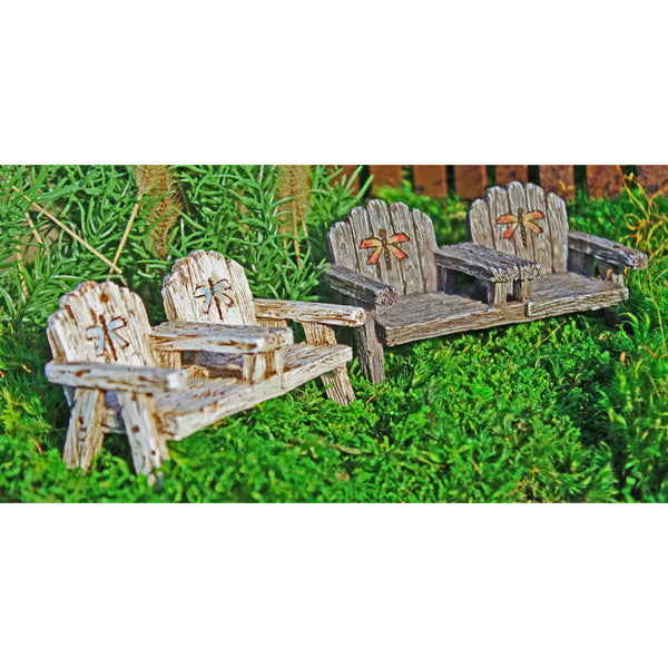 Dragonfly Chair with table Fairy Garden Backyard Furniture Miniatures - Baby Feathers Gift Shop