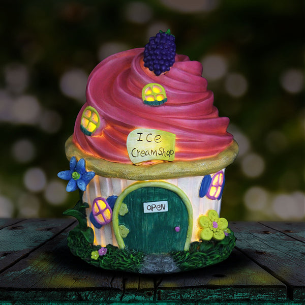 Pink Frosting Cupcake Solar Fairy Cottage House Garden: Fairy Garden Miniature House - Baby Feathers Gift Shop