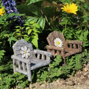 Flower Chairs Fairy Garden Miniature Furniture - Baby Feathers Gift Shop