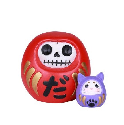 DARUMA Furrybones! Red Japanese Good Luck Figurine Halloween Theme - Baby Feathers Gift Shop