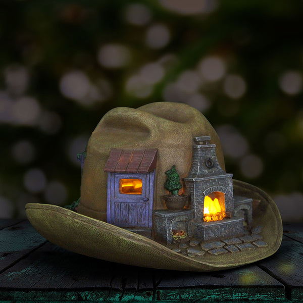Cowboy Hat Miniature Solar House: Fairy Garden Cottage Western Country Theme - Baby Feathers Gift Shop