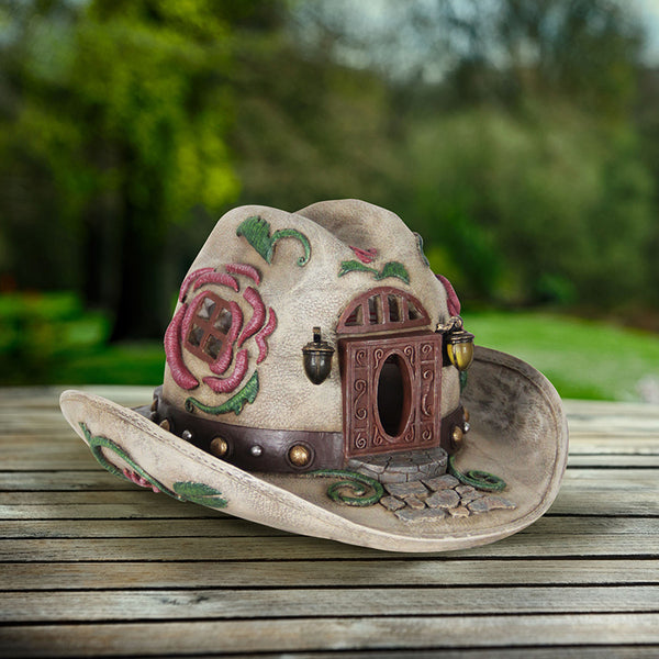 Cowgirl Hat Miniature Solar House: Fairy Garden Cottage Western Country Theme - Baby Feathers Gift Shop