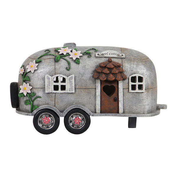 Camping Trailer LED Solar Power Fairy Garden Camper Cottage Backyard Miniature - Baby Feathers Gift Shop