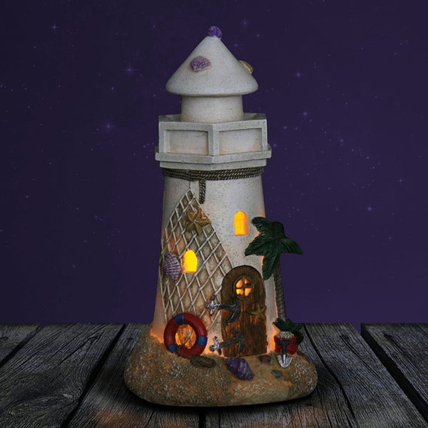 Solar Lighthouse Beach Miniature Garden: Fairy Garden House - Baby Feathers Gift Shop