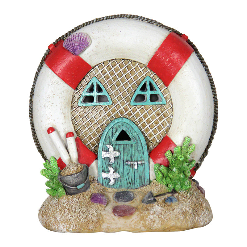 Lifesaver House Beach Miniature Solar Power Fairy Door: Fairy Garden Miniature House - Baby Feathers Gift Shop