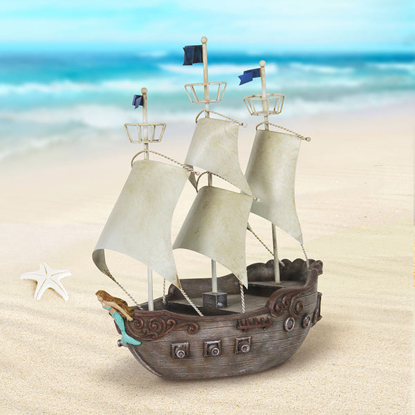 Captain Hook Peter Pan Solar Ship Beach Fairy House: Fairy Garden Miniature House - Baby Feathers Gift Shop