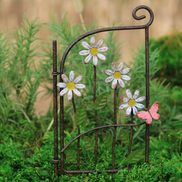 Daisy Gate (metal): Fairy Garden Landscaping Miniature - Baby Feathers Gift Shop