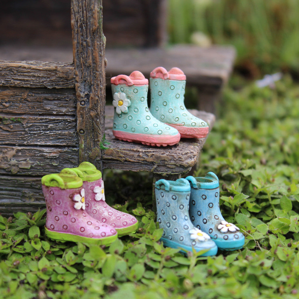 Rainy Day Fun Fairy Boots (2 PC Set Assorted) Fairy Garden Miniature Accessories - Baby Feathers Gift Shop
