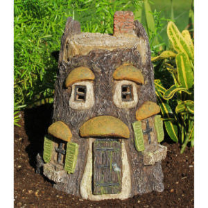 Hoot Owl Fairy Tree House with Hinged Door: Fairy Garden Miniature House - Baby Feathers Gift Shop