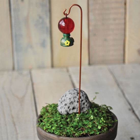 Hummingbird Feeder with Shepherds Hook Fairy Garden Animal Miniature Accessories - Baby Feathers Gift Shop