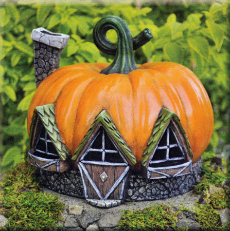 Pumpkin Fairy Cottage Fiddlehead Village: Fall Holiday Fairy Garden Holiday Theme - Baby Feathers Gift Shop