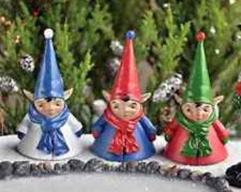 Three Miniature Elves Set: Fairy Garden Holiday Theme - Baby Feathers Gift Shop