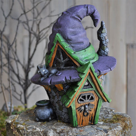 Witch Hat Halloween Fairy Cottage Fiddlehead Village: Fall Holiday Fairy Garden Holiday Theme - Baby Feathers Gift Shop