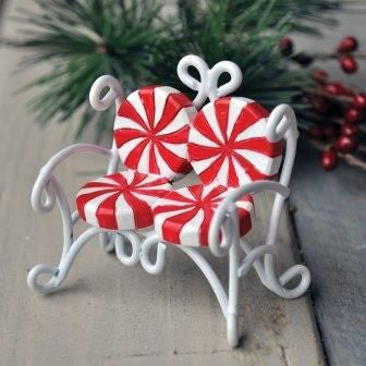 Candy Cane Love Seat Mini Fairy Furniture: Fairy Garden Holiday Theme - Baby Feathers Gift Shop