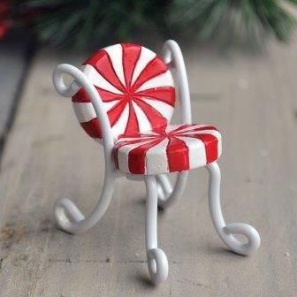 Candy Cane Bistro Chair Fairy Furniture: Fairy Garden Holiday Theme - Baby Feathers Gift Shop