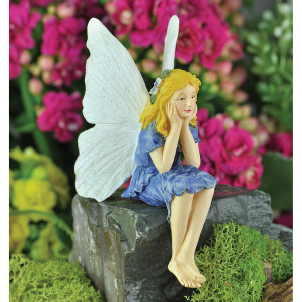 Cornflower Sitting Mini Fairy: Fairy Garden Miniature - Baby Feathers Gift Shop