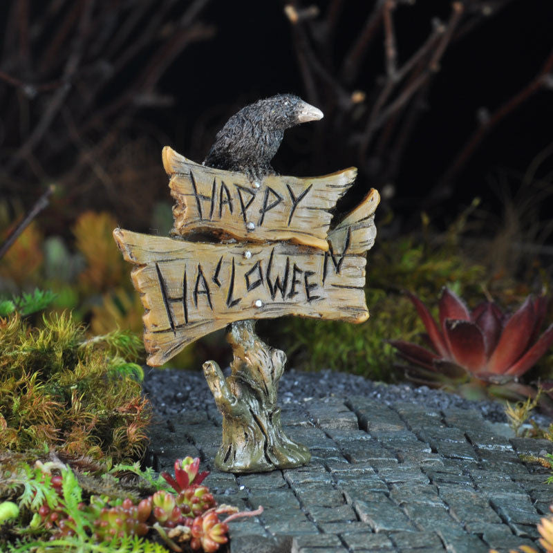 Fall Halloween Crow Welcome Sign: Fairy Garden Holiday Theme Miniature Accessories - Baby Feathers Gift Shop