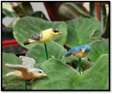 Birds in Flight Pick set of 3 Fairy Garden Animal Miniature Accessories - Baby Feathers Gift Shop