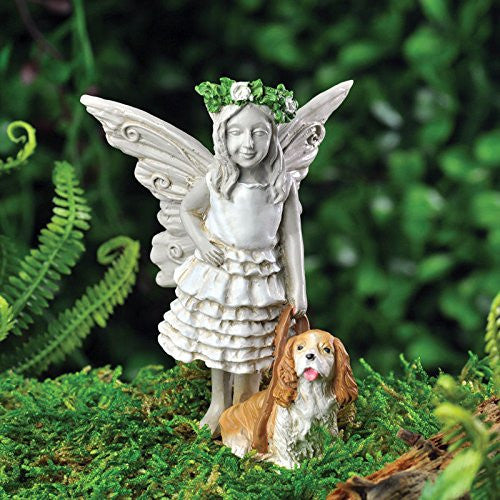Clover Mini Fairy with Charlie Pup: Fairy Garden Animals Miniature - Baby Feathers Gift Shop