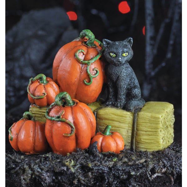 Cat on Hay Bale the Barnyard Animal Halloween Cat: Fall Fairy Garden Holiday Theme - Baby Feathers Gift Shop